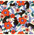 seamless pattern with black cats and flowers vector image