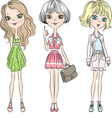 Set cute Beautiful fashion girl in short dress vector image vector image