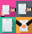 set of four different contracts vector image vector image