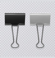 set of realistic black and white document clips vector image vector image