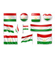 set tajikistan flags banners banners symbols vector image