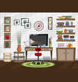 sketch home office room interior in flat style vector image