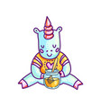 small unicorn with jar of honey vector image vector image
