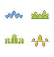 sound waves color icons set noise vibration vector image