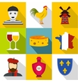 Stay in France icons set flat style vector image vector image