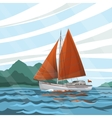 Stylized seascape with the sailboat floating on vector image vector image