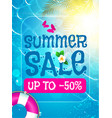 summer sale background shining sun warm sea and vector image vector image