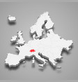 switzerland country location within europe 3d map vector image vector image