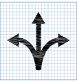 Three-way direction arrow sign vector image vector image