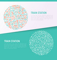 train station concept in circle vector image vector image