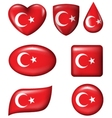 Turkey flag in various shape glossy button vector image