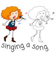 a singer character on white backgroud vector image