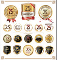 anniversary golden labels and badges 25 years vector image vector image