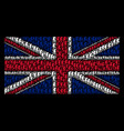 british flag mosaic of electric strike items vector image