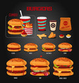 Burger menu hamburgers types fast food icons set