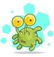 Cartoon cute green alien with big eyes vector image