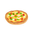cartoon icon of round italian pizza with tomatoes vector image