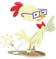 chicken nerd vector image vector image