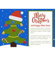 christmas tree ornated with toys vector image