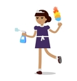 Cleaning Woman in Maid Uniform vector image vector image