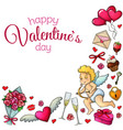 corner frame with sketch valentines day icons vector image vector image