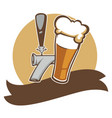 craft beer in mug brewery company vintage emblem vector image vector image