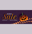 creative halloween sale banner with pumpkin and vector image vector image