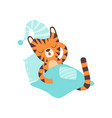 cute little tiger wearing cap sleeping in bed vector image vector image
