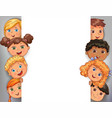 design white blank banner with faces cute kids vector image vector image