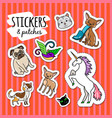 different animals stickers patches vector image