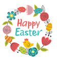 easter floral frame with chicken vector image