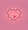 electric bulb in heart shaped frame with hearts vector image vector image