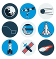 flat design icons space and astronomy vector image vector image