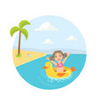 girl floating on inflatable yellow duck in sea vector image vector image