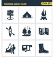 Icons set premium quality of outdoor recreation vector image