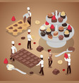 isometric people making chocolate candies vector image vector image