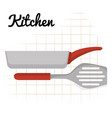 kitchen spatule with pan utensil icon vector image vector image