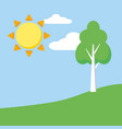landscape nature sun tree vector image