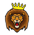 lion in glasses and crown vector image vector image