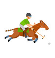 man on horse holding stick hitting ball on speed vector image vector image