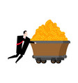 miner and trolley of bitcoins mining extraction vector image vector image