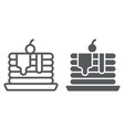 pancakes line and glyph icon pastry and food vector image