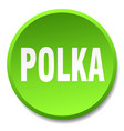 polka green round flat isolated push button vector image vector image