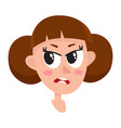 pretty brown hair woman angry facial expression vector image vector image