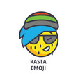 rasta emoji line icon sign vector image