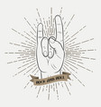 rock and roll music hand vector image vector image