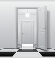 rooms with opened and closed doors on the glossy vector image vector image