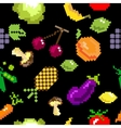 seamless retro pixel game fruits pattern vector image vector image
