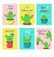 Set of cards with cute funny cactuses and