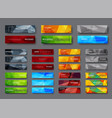 Set of horizontal web banners with multicolored vector image